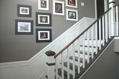Banister idea w/ picture frame molding Split-level home- foyer The Foyer Project | The Rozy Home