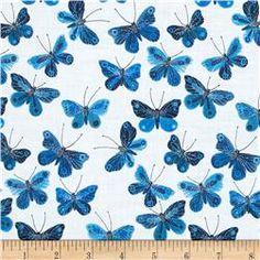 Cloud 9 Organic Moody Blues Voile Butterflies