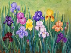 Iris Garden Acrylic Painting Tutorial by Angela Anderson on YouTube #fredrixcanvas #princetonbrushes #canvaspaintingtechniques