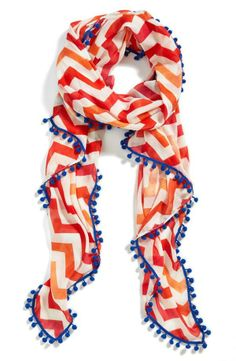 Show your stripes with this Halogen® Gradient Chevron Scarf. Coral Chevron, Chevron Fabric, Chevron Scarves, Cheap Toms Shoes, Cute Scarfs, Looks Street Style, Scarf Design, Summer Scarves, Scarf Styles