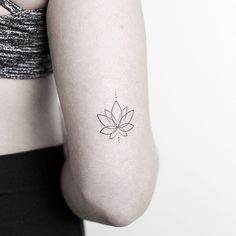 """Small Tattoos on Instagram: """"Minimalist #lotus by @rachainsworth · @lagrainetattoo Hampshire via @tattoofilter"""" • Instagram"""
