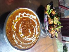 Chicken Reshmi and Dal Makhani prepared by the chef at Nirvana Indian Cuisine in New Orleans, LA.