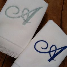 GIVEAWAY - Single Initial Monogram Fingertip Towel, set of 2, three lucky winners! See post on our Facebook page to enter www.facebook.com/StitchedByAnnemarie