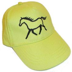 This lime or red child's size baseball cap features a black embroidered horse. Horse Stalls, Baseball Cap, Horses, Children, Hats, Black, Fashion, Baseball Hat, Young Children