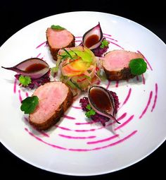 Pork Tenderloin, Red Cabbage Purée, Apple-Radish Salad with Dijon-Tarragon Dressing, Red Cabbage Marmalade, Pan Sauce. flashback to July ✌🏻🤓 Fancy Food Presentation, Gourmet Food Plating, Food Plating Techniques, Culinary Chef, Fancy Dishes, Pork Tenderloin Recipes, Beef Tenderloin, Modern Food, Star Food