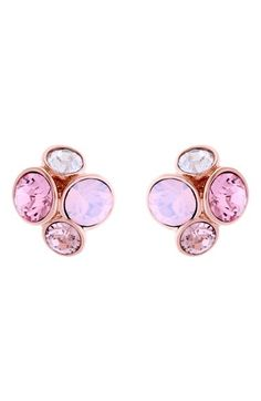 Ted Baker London Lynda Jewel Cluster Stud Earrings available at #Nordstrom Rose gold / violet multi