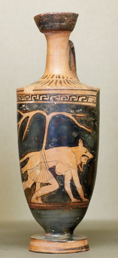 "(Dolon wearing a wolf-skin. Attic red-figure vase, c. 460 BC.) Dolon's Night Mission in Homer's Iliad ----  ""Dolon departed, wearing a wolf skin and a weasel-skin cap in order to blend into his surroundings. His plan was to deceive the Greeks by walking on all fours..."" #WerewolfMythRelated"
