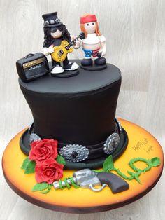 Slash Hat Guns & Roses cake by Elizabeth Miles Cake Design
