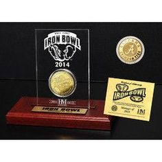 Alabama Crimson Tide 2014 Iron Bowl Gold Game Coin with Engraved Display