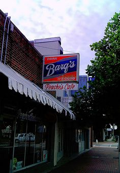 Peaches Cafe, Downtown Jackson Mississippi - I would sure love to have a Barq's sign like that!
