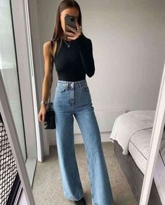 Cute Casual Outfits, Chic Outfits, Spring Outfits, Fashion Outfits, Autumn Jeans Outfits, Cute Jean Outfits, Looks Chic, Looks Style, Casual Looks