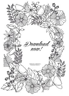 adult coloring page in the floral wreath pattern. Try this amazing relaxation technique!