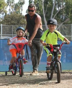 Gavin Rossdale takes his boys Kingston and Zuma to the park