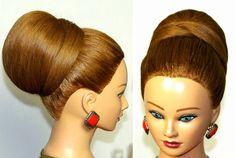 Bun, hairstyle for  medium long hair. Wedding prom updo.