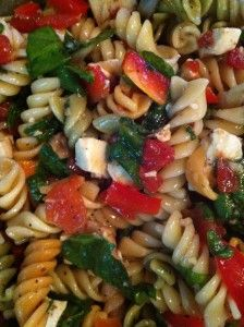 This is delicious and SO refreshing!  Refreshing Summer Chicken Pasta Salad Ingredients: Pasta mozzarella Balsamic Vinaigrette fat-free Tomatoes Multi-Colored Bell Peppers Fresh Spinach Pre-c...