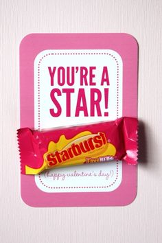 Starburst candy Valentine's Day printable from it is what it is via @Ashley Hackshaw