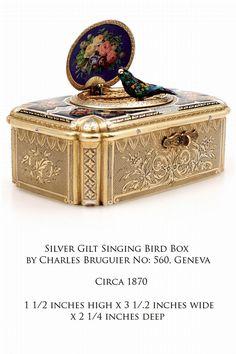John Jaffa Antiques - Silver Gilt Singing Bird Box by Charles Bruguier No: 560, Geneva C1870