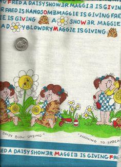 Vintage Cotton Canvas Border Print Cute Cat Daisy by debscrafts55, $21.00 #pcfteam