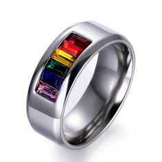 NEW Silver Gold Black Rainbow Thin Ring 3 Band Set Rings Stainless Steel Jewelry