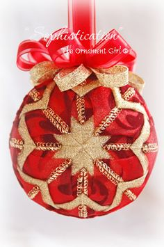 Quilted Red and Gold Ornament - Red Christmas Ball