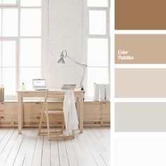 Huge amount of shades of brown is perfect for design of studio or office of a real man. No extra accents, everything is done in the same gamma and is in ha.