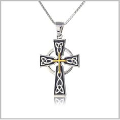 Our Black and Gold Celtic Cross pendant is sterling silver with yellow gold plating and black enamel This black and goldnbspCelticnbspcross necklacenbspmeasures approximately 28 mm long Comes on your choice of sterling silver chain lengths  nbsp Exclusively by The Irish Jewelry Company Every jewelry gift from The Irish Jewelry Company comes gift boxed in our signature style a simple white glossy gift box sealed with a satin emerald green ribbon and our gold label Included at no additional…