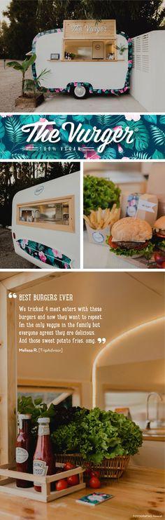 The Vurger Food Truck Caravan · 100% Vegan · Surf style · Tropical design · Plant based burgers · Healthy food · Valencia, Spain · One of the best vegan burger · White · Green · Palms                                                                                                                                                                                 Más