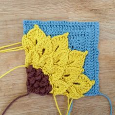 Quarter Sunflower Square Motif By Suvi - Free Crochet Pattern - (ravelry)