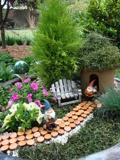 think miniature landscape around the gnomes rather than placing the gnomes into our landscape