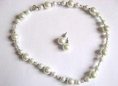 Set mireasa colier si cercei perle sticla / set nunta