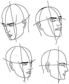 Nach oben und unten geneigten Kopf und Gesicht zeichnen