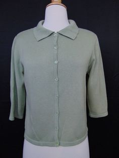 Christopher & Banks Sweater Green Button Down 3/4 Sleeve Size Small #750 #ChristopherBanks #Cardigan