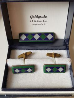 Brosche Manschettenknöpfe Schibensky Perli Stil Cloisonne Email 60er Jahre Vintage Cufflinks, Sunglasses Case, Ebay, Antique Jewelry, Brooches