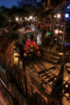 Big Thunder Mountain Railroad at night