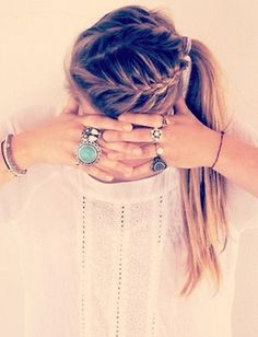 Double-braid side pony.