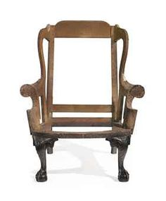 """AN IMPORTANT CHIPPENDALE CARVED MAHOGANY EASY CHAIR   The carving attributed to the """"Garvan"""" carver, Philadelphia, 1760-1765"""