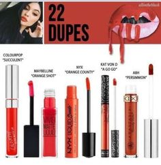 Kylie Jenner's Lipstick Dupes! Affordable! Why spend up to 29 Dollars on Kylie's lip kits when you can save money for the products nearly identical! Im sure you have heard the big hype on her lipsticks especially when she releases a new one! Kylie continues to create new liquid lipsticks known for they light feeling ...