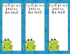 Standardized test motivation slips- student earns a sticker when seen trying their best on the test.