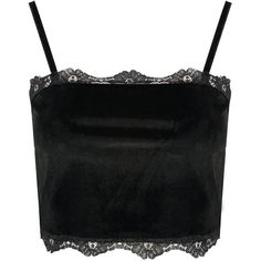 Boohoo Petite Zoe Velvet Lace Trim Crop Top (21 AUD) ❤ liked on Polyvore featuring tops, petite tops, crop top and cut-out crop tops