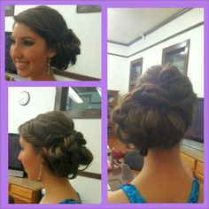 Pageant hair have a flower right at the top of the bun