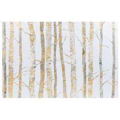 "24"" x 36"" Cream & Gold Birch Trees Canvas Art"