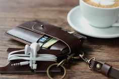 Leather iPhone 5 Wallet, Lanyard and Headphone Organizer Thingy - Mobile Accessories - Set of 3 - Value Priced Fun Pack - Coffee Costs Extra...