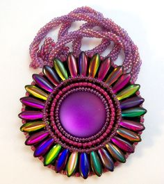Magic Lilac Sunflower Brooch Necklace by beadn4fun on Etsy