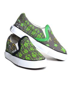 Love this XOLO Shoes Gray & Green Rocker Slip-On Sneaker by XOLO Shoes on #zulily! #zulilyfinds