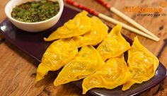 Prawn & Snow Pea Dumplings with Chilli Dipping Sauce