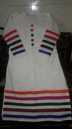 Best 12 A multi colour a beautifull kurti that I have made Sleeves Designs For Dresses, Dress Neck Designs, Stylish Dress Designs, Blouse Designs, Simple Kurti Designs, Kurta Designs Women, New Kurti Designs, Pakistani Dresses Casual, Pakistani Dress Design