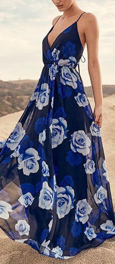 Fashion v neck high waist spaghetti strap beach maxi dress - Summer Dresses Short Beach Dresses, Trendy Dresses, Sexy Dresses, Blue Dresses, Dress Outfits, Casual Dresses, Beach Party Dresses, Long Boho Dresses, 1950s Dresses