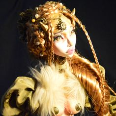 OOAK Art doll Gold Faun-fantasy art dollpaper clay by MiaDollss