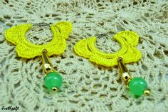 Yellow loop crochet earrings