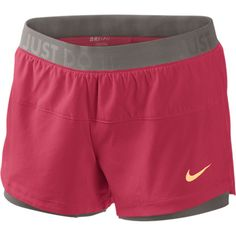 Nike Icon Woven Two-In-One Women's Training Shorts - Hyper Red, XL ($40) ❤ liked on Polyvore